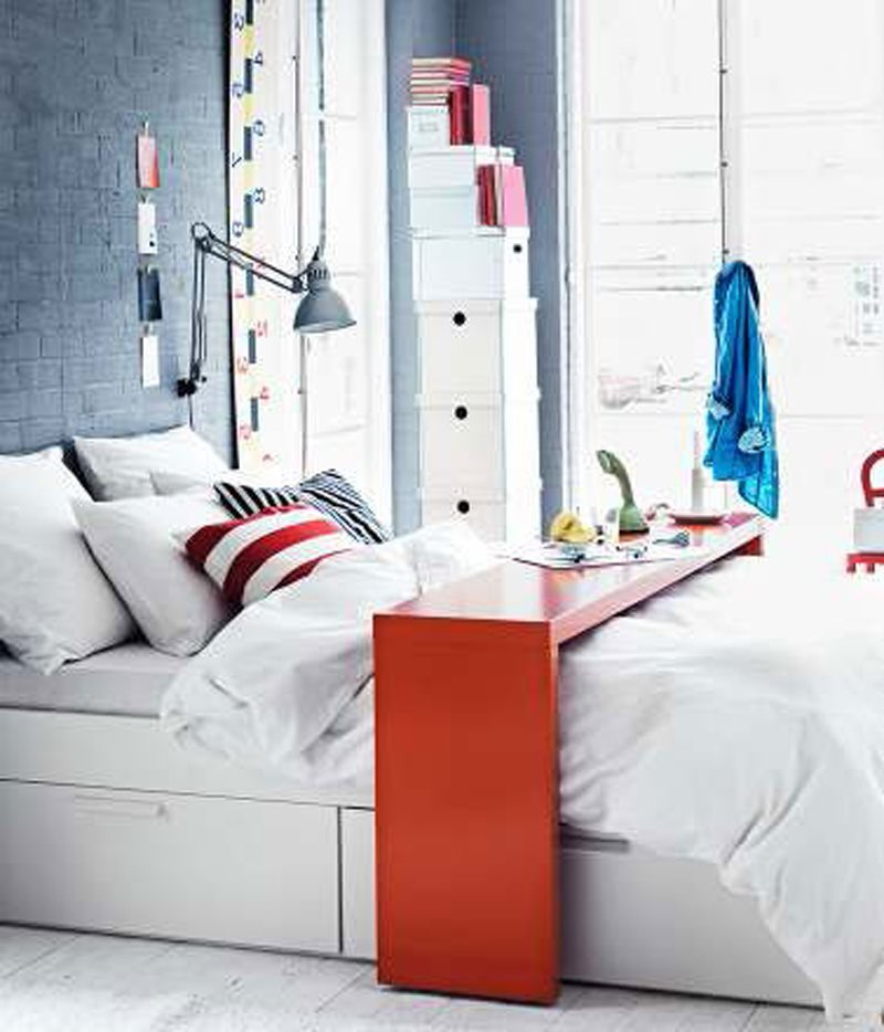 2012 IKEA Bedroom Design with white color and table furniture