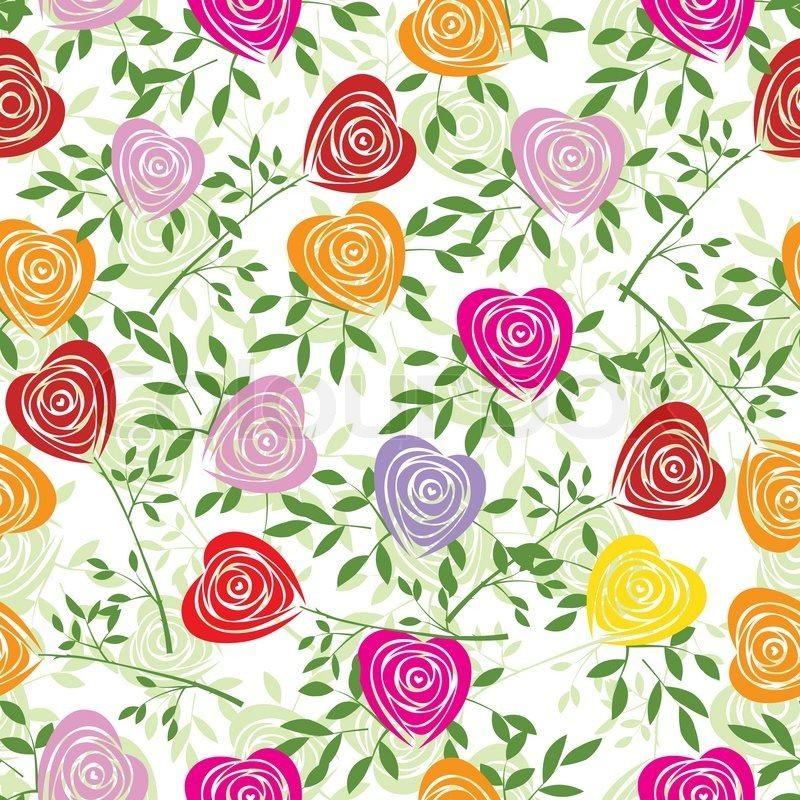 Heart Rose Pattern Seamless Flower Background Fabric Texture Floral Vintage Design Pretty Cute Wallpaper Romantic Cartoon Feminine Filigree Tile