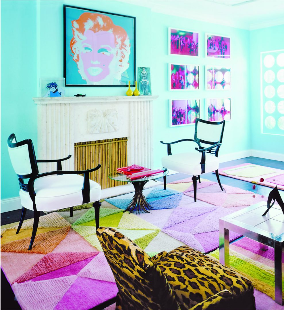Designer Doug Meyer's first Miami house featuring Andy Warhol's Marilyn, Billy Haines chairs, Pierre Cardin table and Gene Meyer Try-Angular Hand knotted Rug