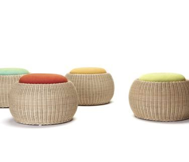 Moon ottomans, also available as tables with glass top inserts by Feelgood designs