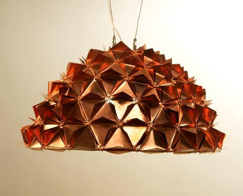 Copper Faceted Brass Chandelier by Bijoux Lights