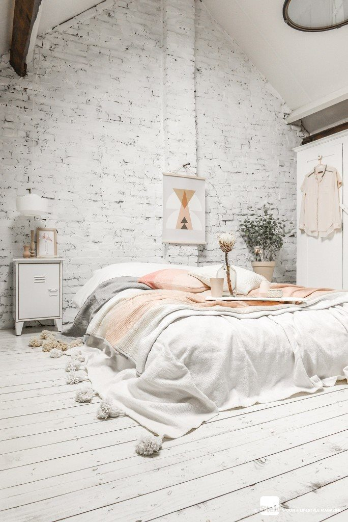 attic-bedroom-design-with-whitewashed-brick-wall