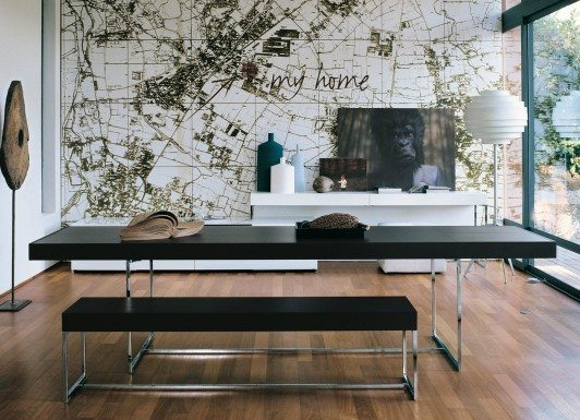 fancy-minimalist-modern-dining-room-design-ideas-featuring-cool-black-colored-dining-table-and-bench-cool-floor-decoration-and-lighting-and-amazing-wall-city-map-mural-decoration-dining-room-designs-532x385