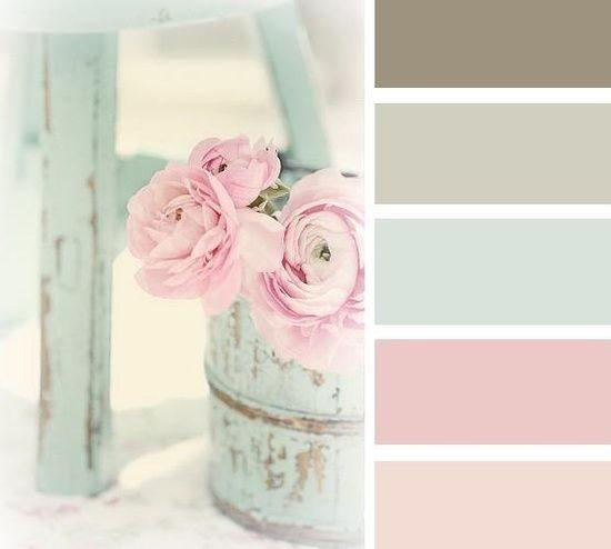 rose, mint, mushroom colour palette